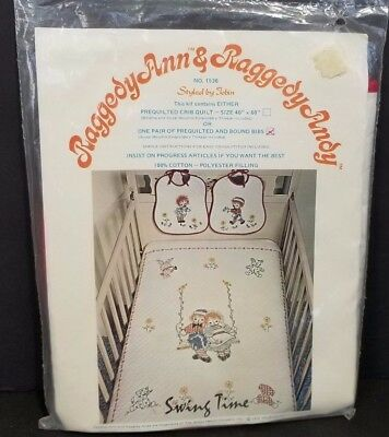 Vintage New Sealed Swing Time Raggedy Ann & Andy Big Making Kit 2 Bibs 1976