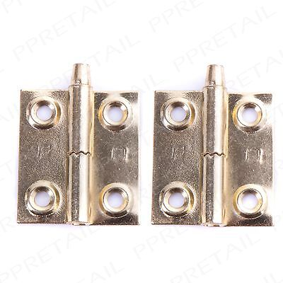 """PAIR OF Lift Off Door Hinges -LEFT HAND- Brass 36mm/1.5"""" Tapered Pin Rising Butt"""