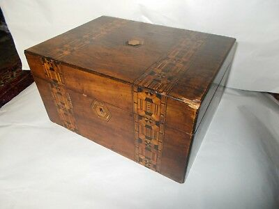 Old Inlaid Wooden Box / Wooden Inlaid Jewellery Box / Wooden Inlaid Sewing Box
