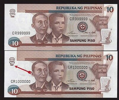 "ERROR ""Diff DATE"" Philippine 10 Peso NDS DOUBLE HEAD Solid SN#CR999999-CR1000000"