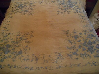 Antique Chinese embroidered Canton piano shawl cream and pale blue Manton pretty