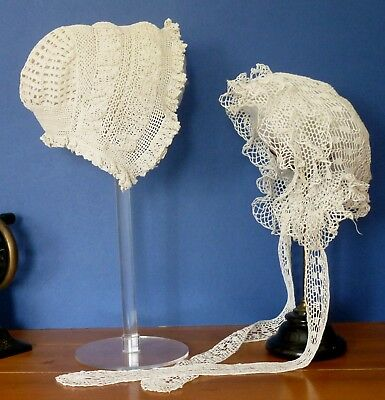 Two Victorian Crochet Bonnets Or Caps For A Child