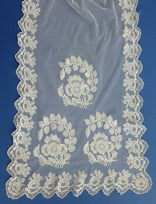 An Early Victorian Hand Needle Run Stole, Wrap Or Shawl