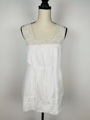 A Pea In The Pod Maternity Cream/White Lace Blouse/Top/Shirt, Size Medium EUC
