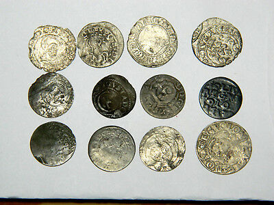 Eastern Europe, 12 silver coins, mostly Poland, mostly circa 1620.