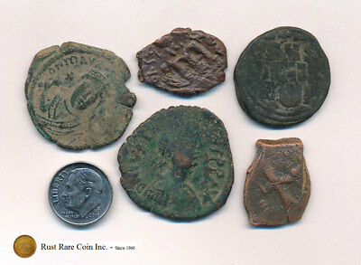 5 Byzantine Coins (Lot 4) - Two are cleaned