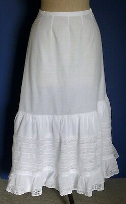 A Victorian Full Length Petticoat With Lace Frills & Insertion