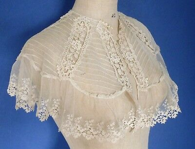 An Antique Tucked Machine Net And Schiffli Lace Capelet Or Fichu