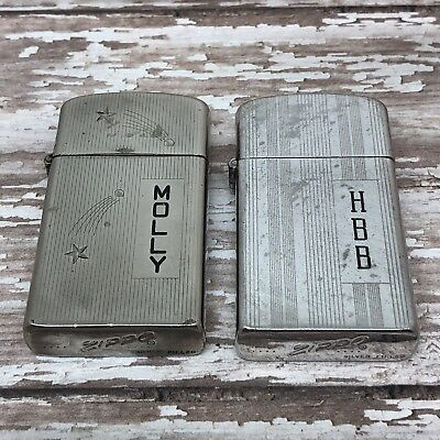 Lot of 2 - 1958 Vintage Slim Zippo Lighters - Silver Filled - Engraved - Used