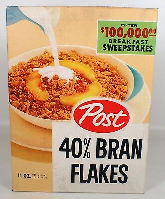 RARE Vtg 1950s Post 40% Bran Flakes Breakfast Sweepstakes Cereal Box Sealed NM
