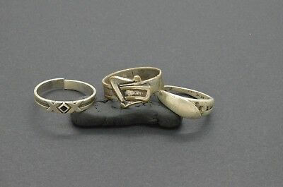 Antiquarian Silver Rings with rock-crystal gemstones. 20 Century. 6gr