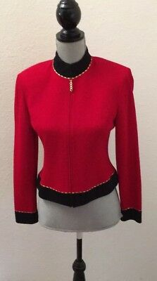 St John Collection By Marie Gray Red Blazer Jacket Size 4 Small S Spot See Photo