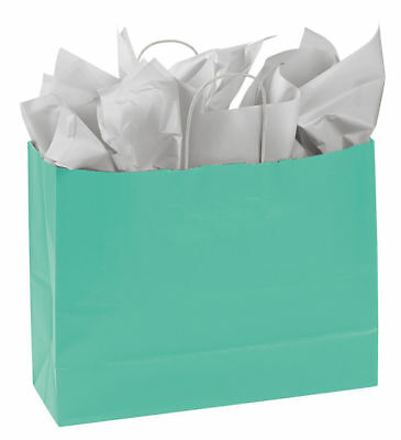"""Paper Shopping Bags 25 Turquoise Blue Retail Merchandise 16"""" x 6"""" x 12 ½"""""""