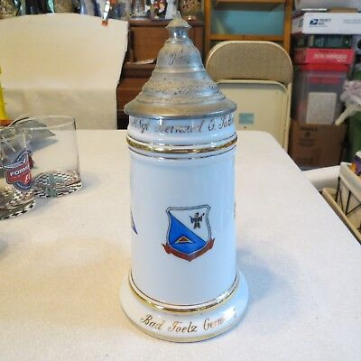 Military Beer Stein Lithopane Lidded Bad Toelz Tolz Germany MSgt. Bernard Patton