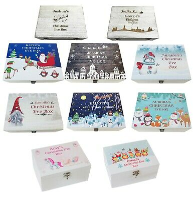 Christmas Eve Box Treat Box Xmas Eve Design Personalised Printed Wooden Large