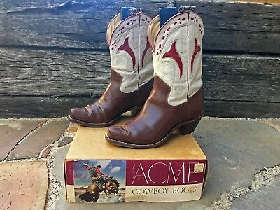 1940's RARE Vintage ACME PeeWee Shorty Cowboy Boots WITH BOX