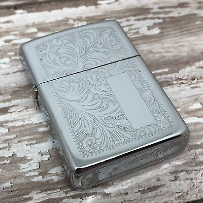 1975 Vintage Zippo Lighter - Venetian Design - Second Year - Unfired Pipe Insert