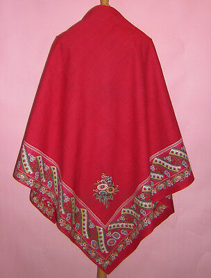 Vintage Czech Antique Womens Peasant Folk Costume Kroj Scarf Shawl Moravian
