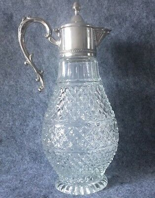 Vintage Silver Plate Topped Claret Crystal Glass Decanter Jug  30cm Tall