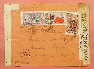 1944 French Madagascar France Libre Overprints Airmail To Usa Wwii Censored