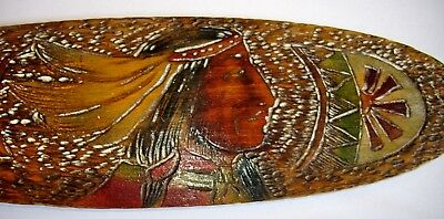 Antique Wood Burned Pyrography Ores / Paddles American Indian Theme -  Excellent