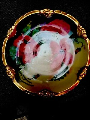 Limoges France Coronet Plate Painted Poppy Daisy  Floral Pattern