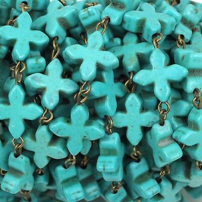 1 yard TURQUOISE HOWLITE CROSS Rosary Chain, bronze, 14mm round beads fch0376a
