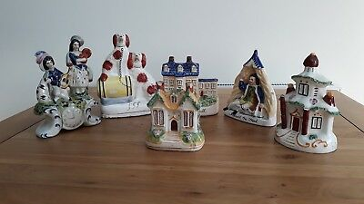 Job lot of vintage - Staffordshire style pottery (six items)