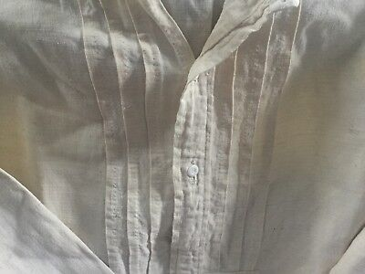 Antique French Linen Nightdress With Pleated Front, Redwork Monogram