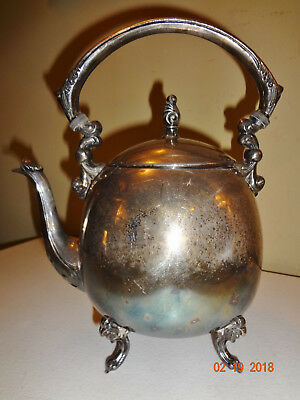 Vintage Silver On Copper Footed Teapot Pitcher with Hinged Lid