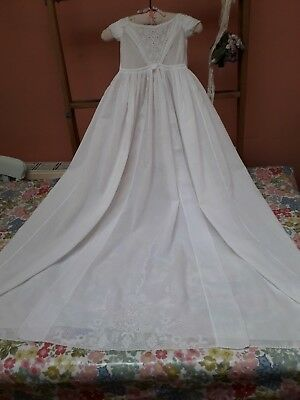 Antique Baby Christening Gown Dress Ayrshire Hand Embroidery Beautiful Original