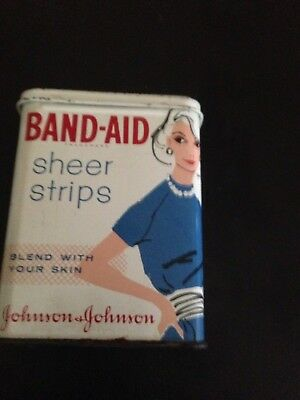 Vintage Band-Aid Johnson & Johnson Tin with Lady Wearing Blue Dress and Pearls