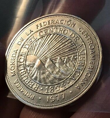 El Salvador 25 Colones, 1977 Extremely Rare Unc Silver~ONLY 2k Minted!~