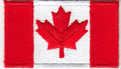 """CANADA FLAG  (1 3/4"""" x 1 1/8"""") - CANADIAN NATIONAL FLAG - IRON ON PATCH"""