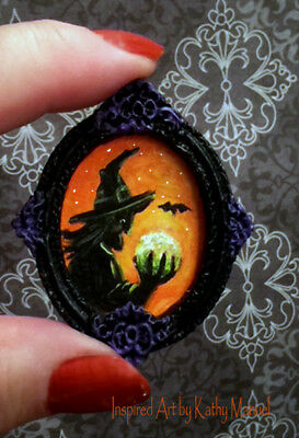 Dollhouse Miniature Halloween FRAMED Art Painting Witch Crystal Ball by K.Manuel