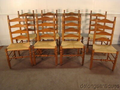 50877:Ethan Allen Solid Maple Set of 8 Rush Seat Ladder-Back Dining Chairs