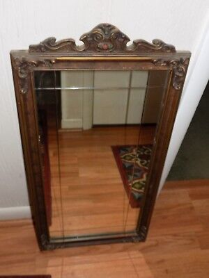 Vintage Wall Mirror with Etched Line Design-Wooden Frame