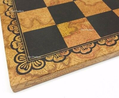 "Large 18"" Italfama LEATHER Chess Board W/ 2"" Squares World Map"