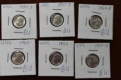 Lot Of 6 Roosevelt Dimes 90% Silver BU Brilliant Uncirculated 1955 - 1964