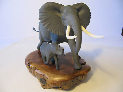 "John Perry Elephant Mother and Baby Sculpture on Burl Wood 9"" x 12"""
