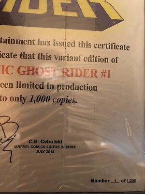 San Diego Comic Con 2018 Exculsive Cosmic Ghost Rider #1 COA # 1 Out Of 1,000!!!