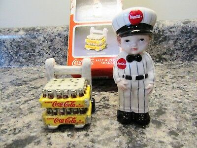 1997 Coca Cola Delivery Boy With Cart & Cases Salt & Pepper  New In Box