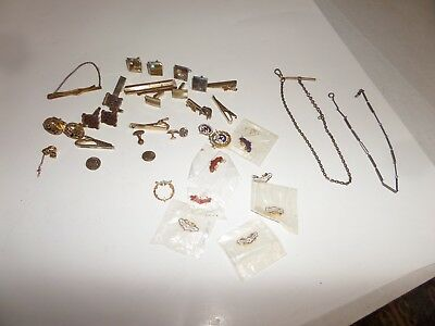 Lot of Vintage Jewelry-Cuff Links Tie Clips & Tacks Watch Fob Chains Religious