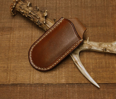 jackknife folding knife blade sheath cover scabbard bag cow leather brown Z984