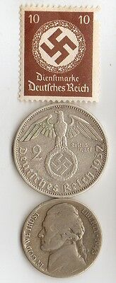 -*WWII - *US  and  *german  SILVER  coin / stamp +..