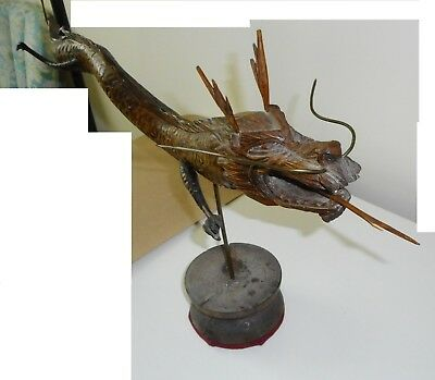 """Large Hand Carved Wooden DRAGON, 29"""" long, Korean, ONE OF A KIND"""