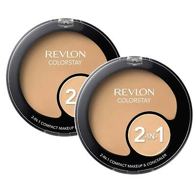 2 x REVLON COLORSTAY 2-IN-1 COMPACT FOUNDATION AND CONCEALER 200 NUDE