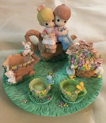 1997 Enesco Precious Moments Kids On A Stump Mini Tea Set Tiny Figurines Nice