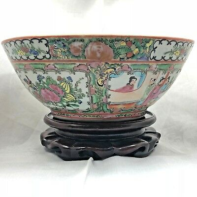 "Stunning Large Vintage Chinese Famille Rose Porcelain Bowl 11"" on Wood Stand"