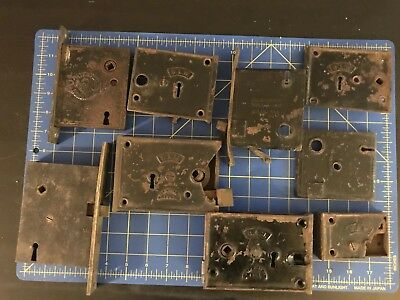 RIM LOCK DOOR HARDWARE LOT VINTAGE LATCH STRIKEFACE PLATE  cast iron 1800's